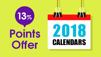 2018 Calendars 13% Points Offer until SEP 8th!