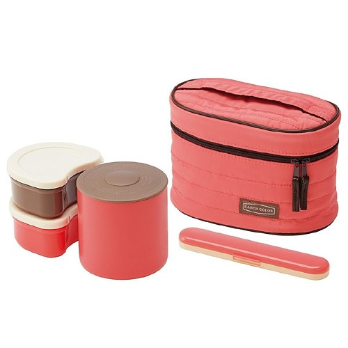 cdjapan earth color lunch box set 560ml salmon pink collectible